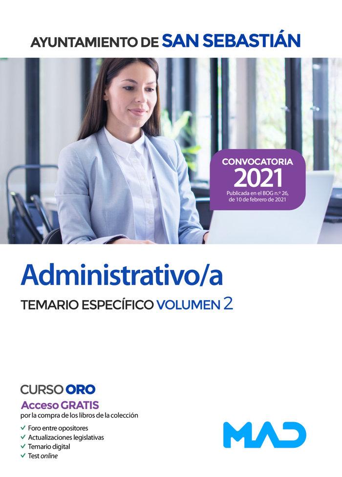 Administrativo/a del ayuntamiento de san sebastian. temario