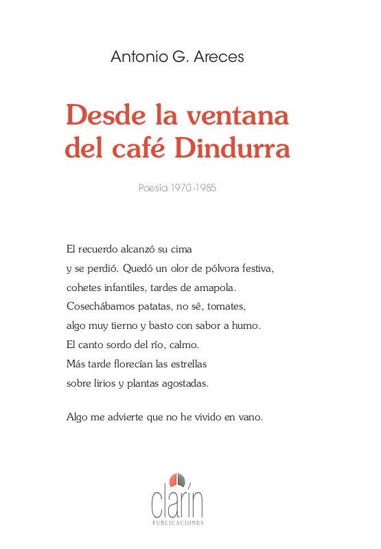Desde la ventana del cafe dindurra. poesia 1970-1985