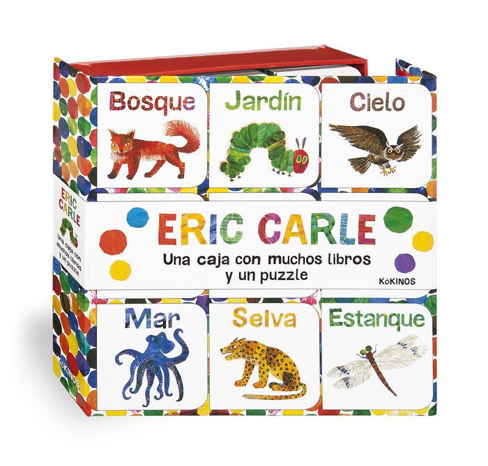 Una caja con muchos libros y un puzzle