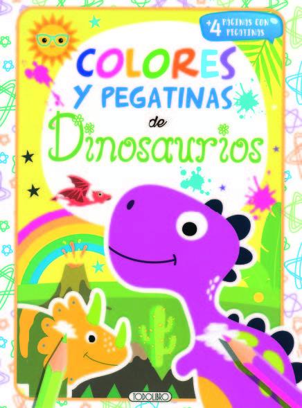 Dinosaurios 2 colores y pegatinas