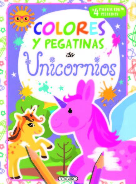 Unicornios 4 colores y pegatinas