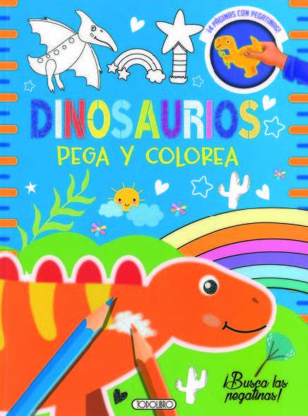 Dinosaurios 2 pega y colorea