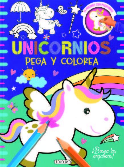 Unicornios 3 pega y colorea