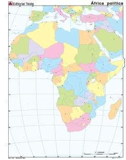 Mapa mudo africa politico (color) (100 uds)