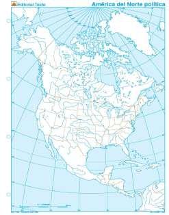 Mapa mudo america norte politico (100 uds)