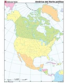 Mapa mudo amercia norte politico (color) (100 uds)