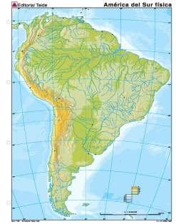 Mapa mudo america sur fisico (color) (100 uds)