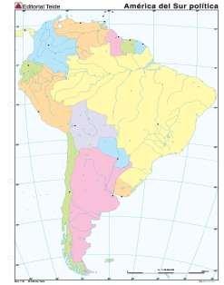 Mapa mudo america sur politico (color) (100 uds)