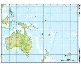 Mapa mudo oceania fisico (color) (100 uds)
