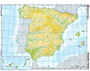 Mapa mudo españa fisico (color) (100 uds)