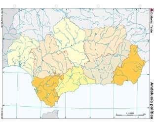 Mapa mudo andalucia politico (color) (100 uds)