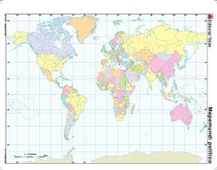 Mapa mudo planisferio politico (color) (100 uds)