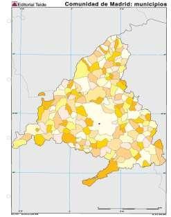 Mapa mudo comunidad madrid municipios (100 uds)