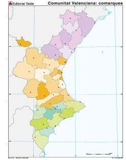 Mapa mudo c.valenciana comarcas (color) (100 uds)