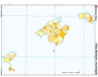 Mapa mudo islas baleares municipio (color) (100 uds)