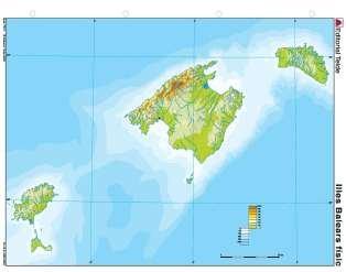 Mapa mudo islas baleares fisico (color) (100 uds)