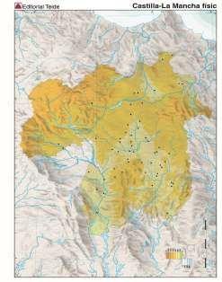 Mapa mudo castilla la mancha fisico (color) (100 uds)