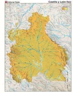 Mapa mudo castilla leon fisico (color) (100 uds)