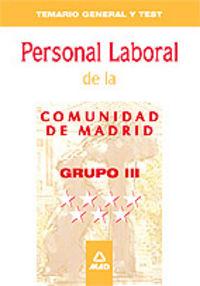 Grupo iii, personal laboral, comunidad de madrid. temario ge