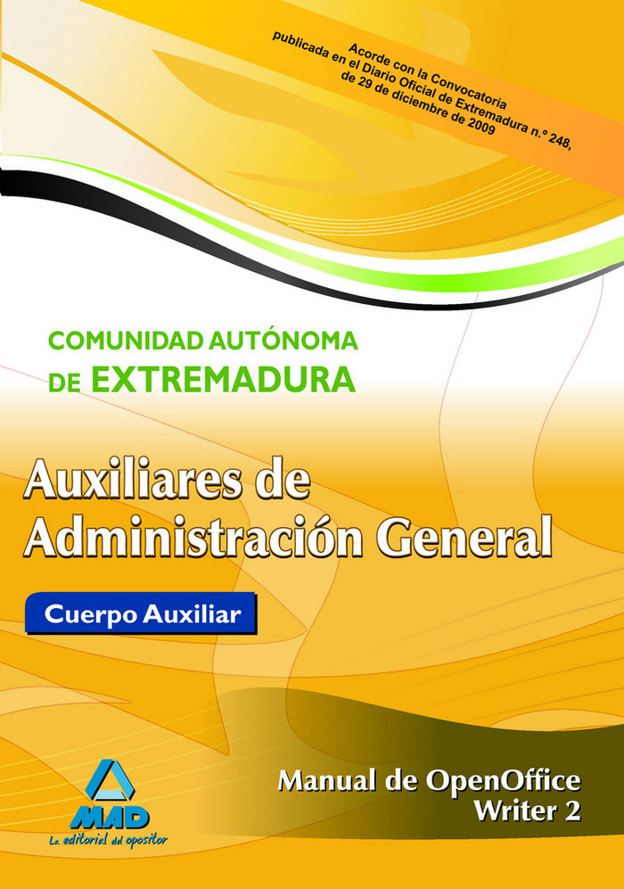 Auxiliar administrativo extre. openoffice writer 2 2010