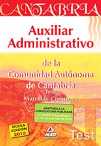 Auxiliares administrativos, comunidad autonoma de cantabria.