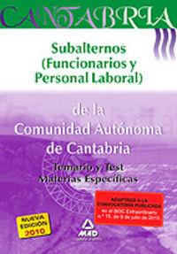 Subalternos, funcionarios y personal laboral, comunidad auto
