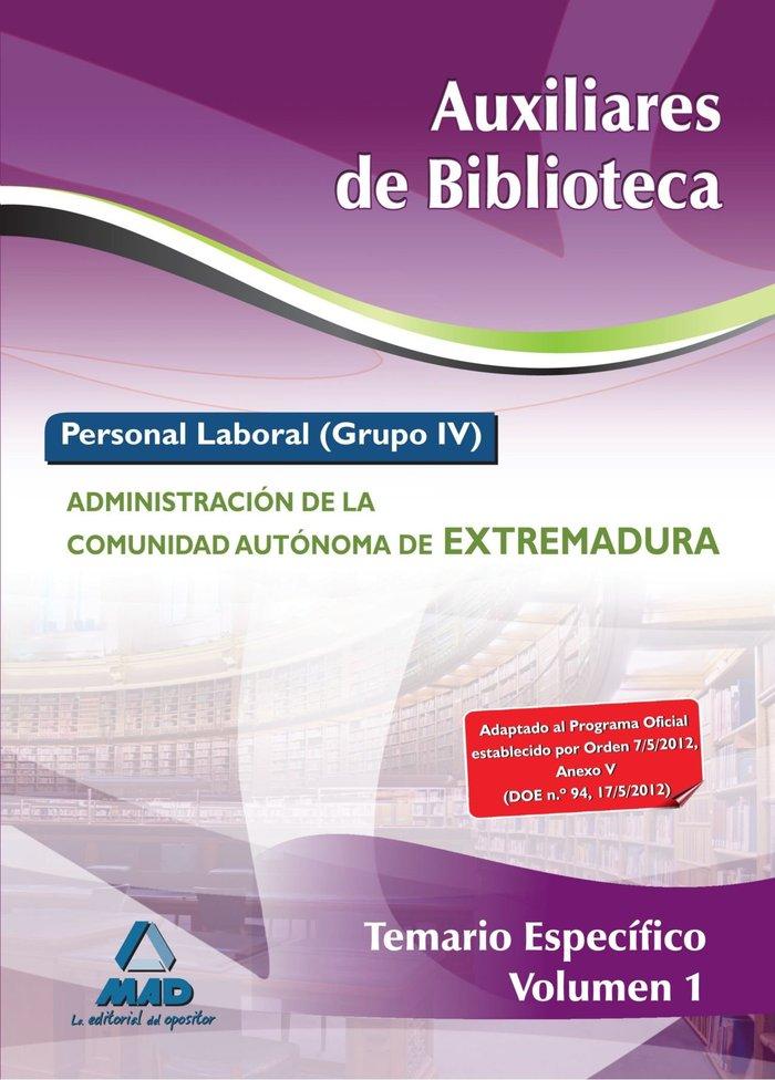 Auxiliar de biblioteca extremadrua temario especifico i