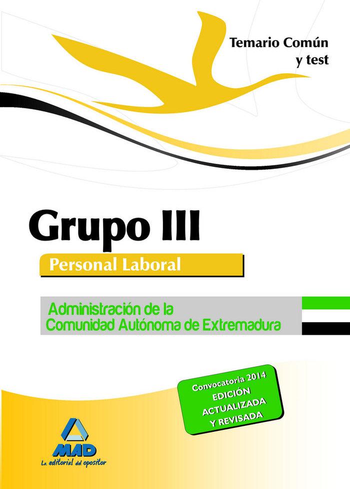 Temario comun y test grupo iii extremadura 2014