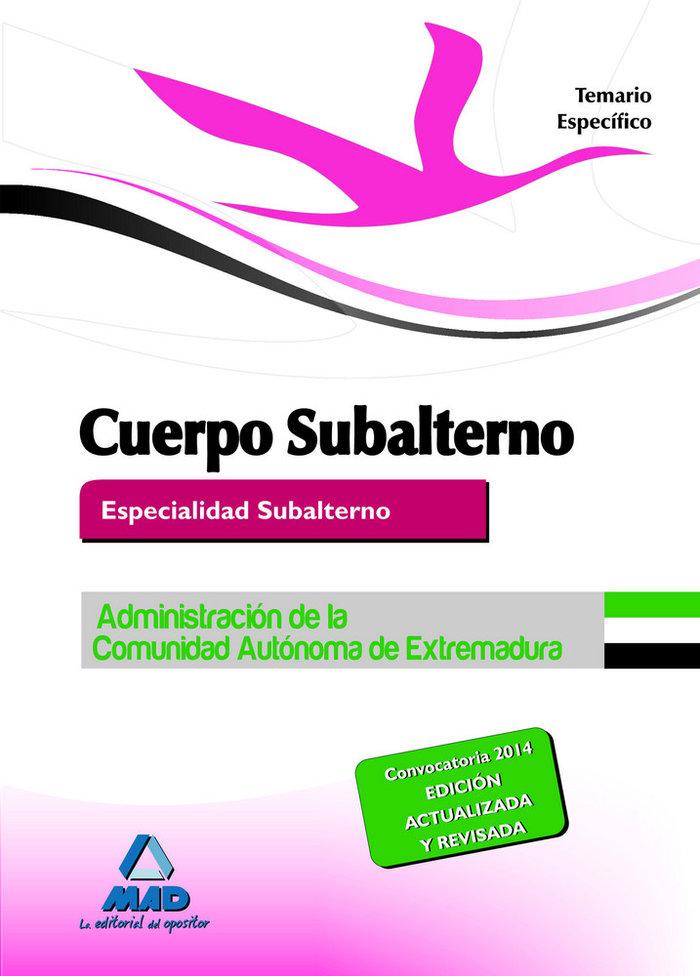 Cuerpo subalterno extremadura temario especifico 2014