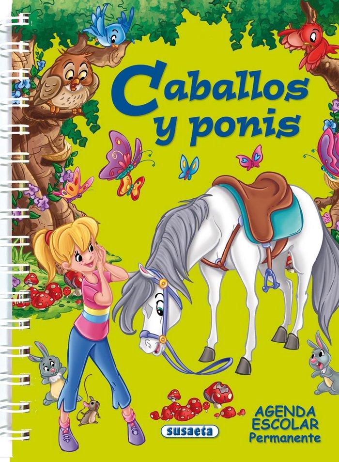 Agenda escolar permanente caballos y ponis verde