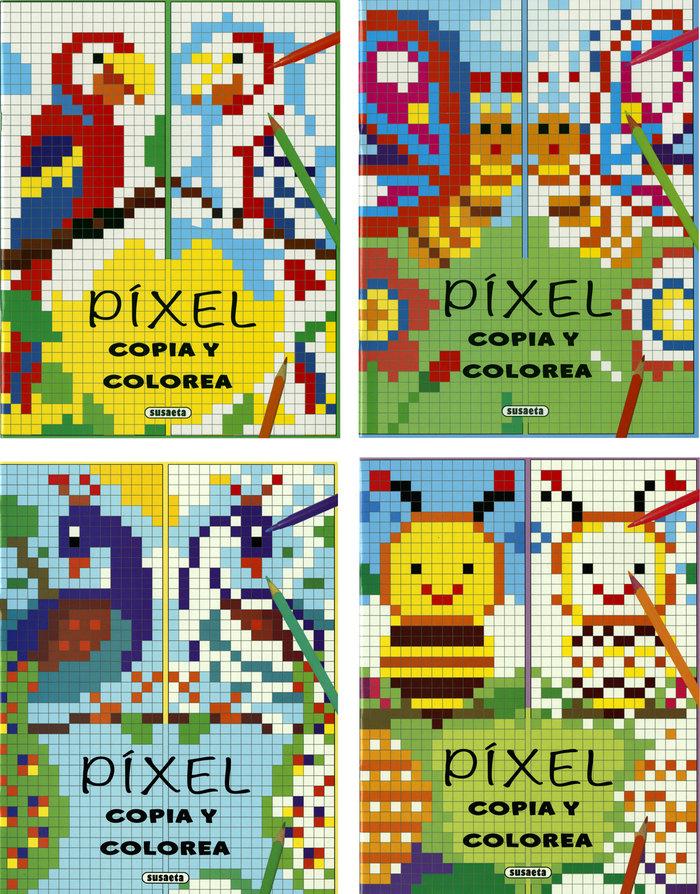 Pixel, copia y colorea (4 titulos)