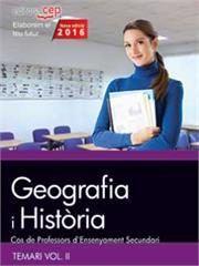 Cos de professors d'ensenyament secundari. geografia i histo