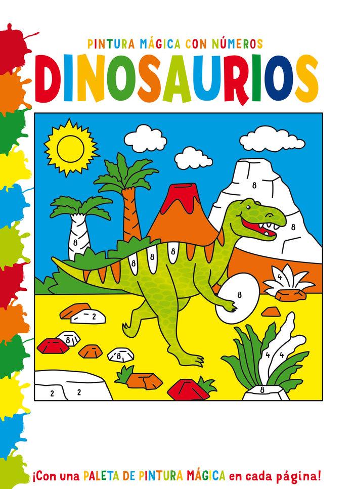 Pintura magica con numeros dinosaurios
