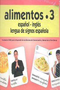 Alimentos 3 baraja español/ingles signos
