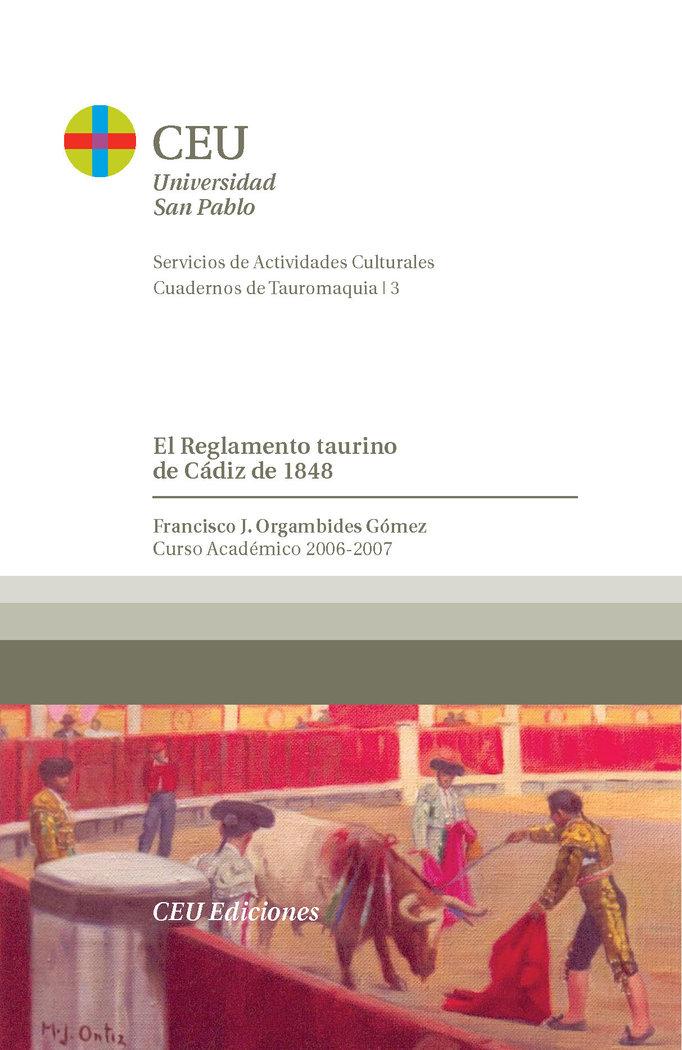 Reglamento taurino de cadiz de 1848,el