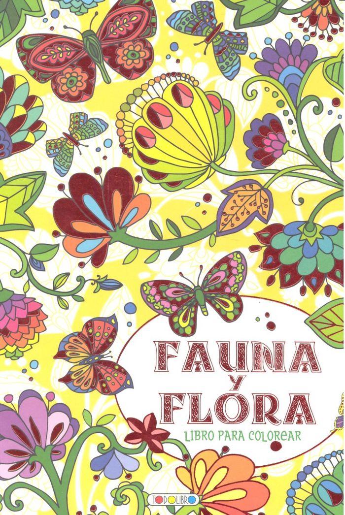 Fauna y flora rojo libro para colorear