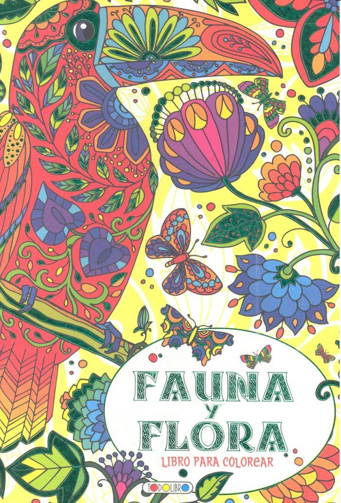 Fauna y flora verde libro para colorear