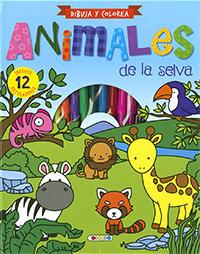Dibuja y colorea animales de la selva