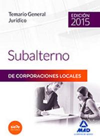 Temario general juridico subalterno corporaciones locales 2