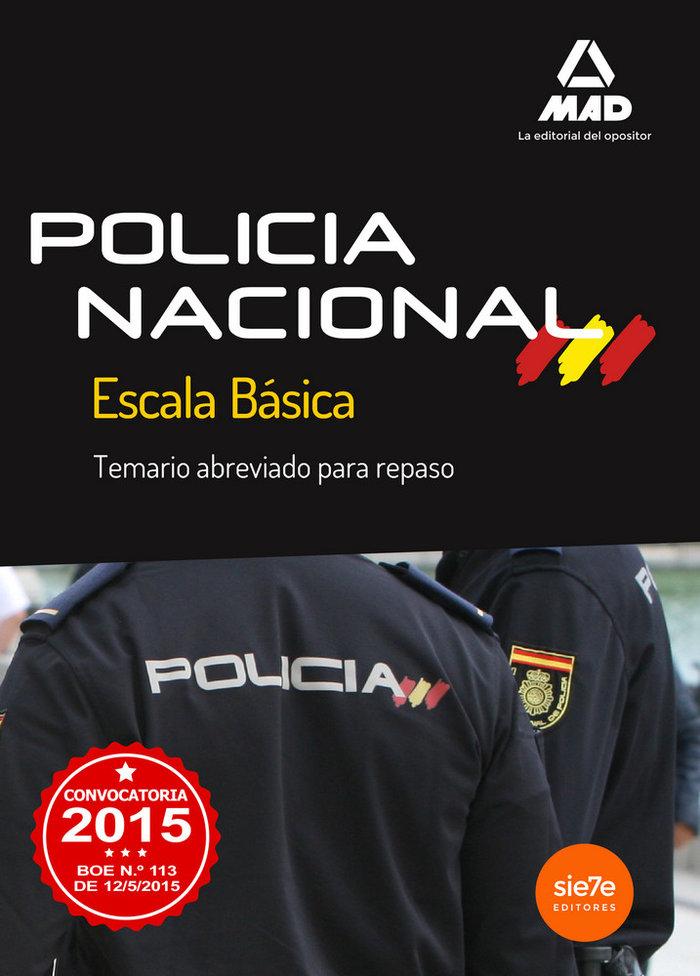 Escala basica de policia nacional temario abreviado 2015