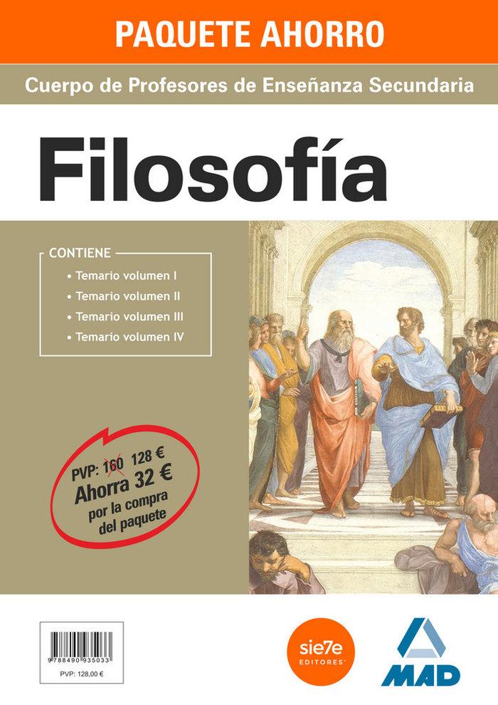 Pack ahorro filosofia profesores enseñanza secundaria 4 vol