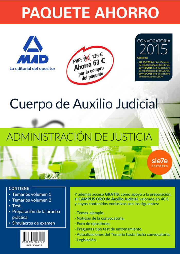 Pack ahorro cuerpo auxilio judicial administracion justicia