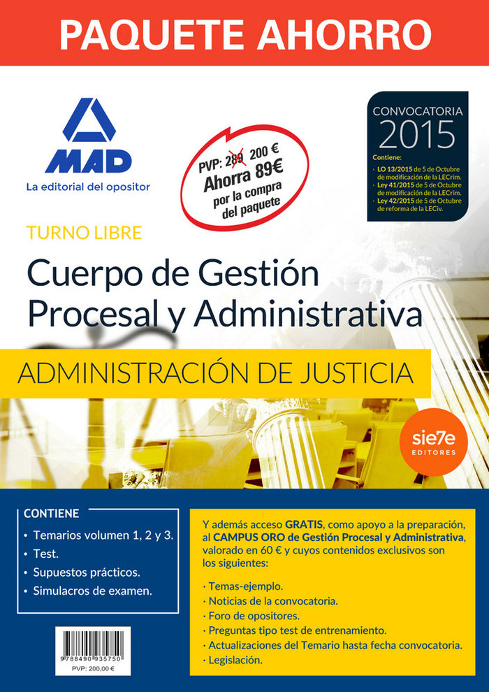 Pack ahorro gestion procesal y administrativas administraci