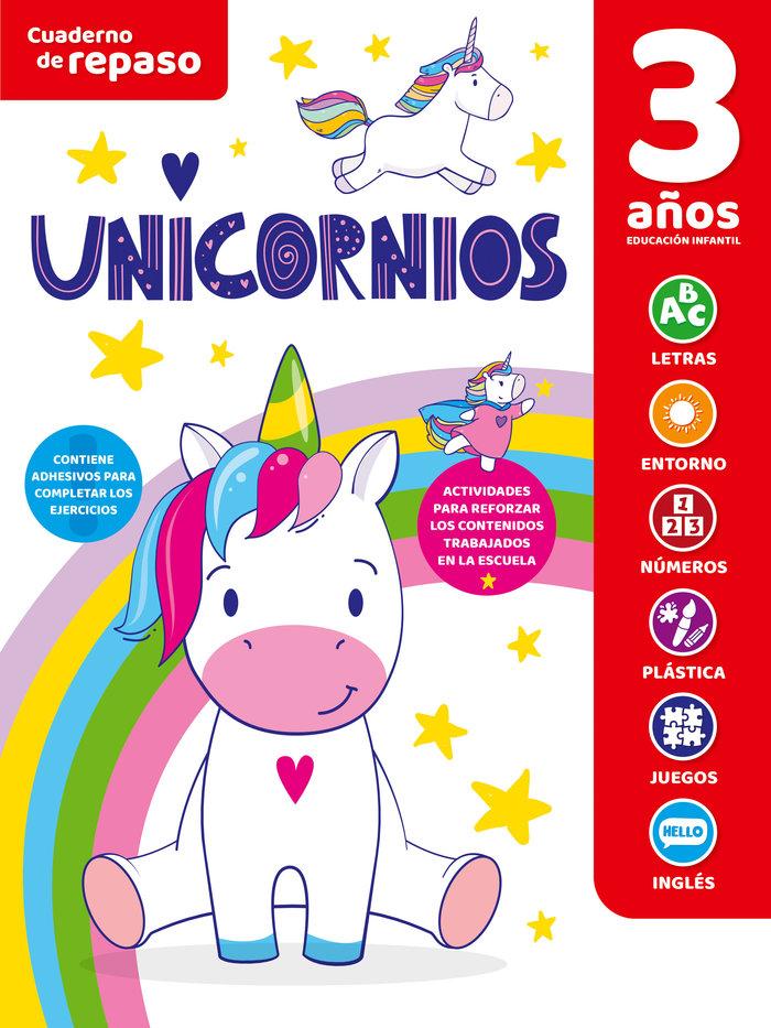 Cuaderno tematico luminiscente 3 años unicornios