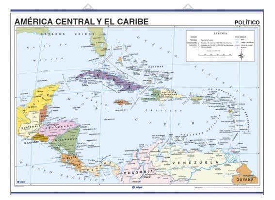 Mapa mural america central caribe fis/pol 100x140 doble car