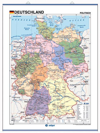 Mapa mural deutschaland fis/pol 100x140 d/c aleman