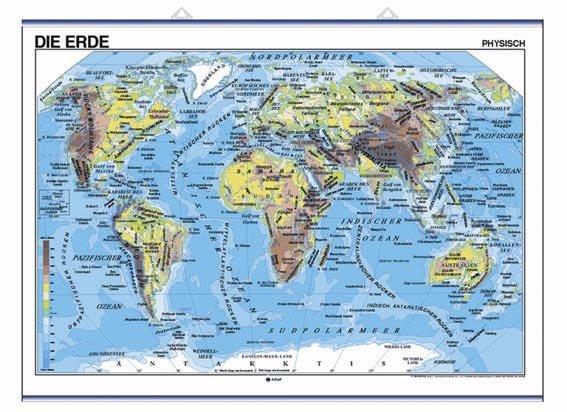 Mapa mural die erde fis/pol 100x140 d/c aleman