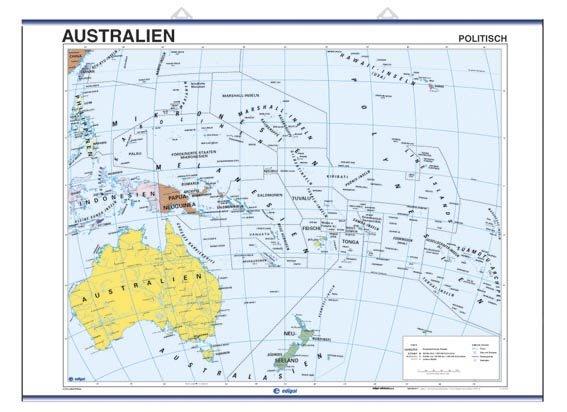 Mapa mural australien fis/pol 100x140 d/c aleman