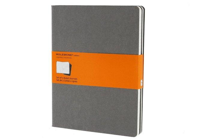 Libretas cahier gris piedra xl rayas (set de 3)