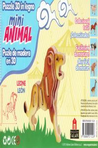 Leon mini animal puzzle madera 3d